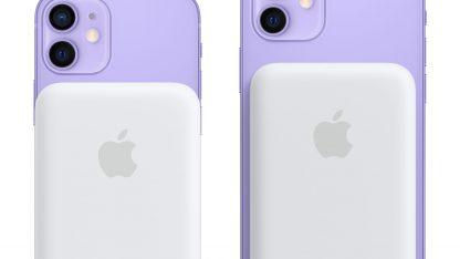 MagSafe Battery Pack připnutý na iPhonech 12 mini a 12.